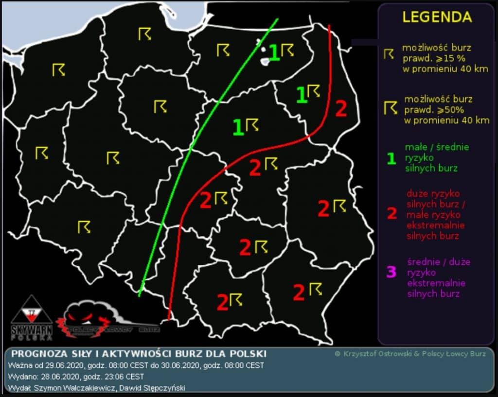 Burze nad Polską 29.06. Mapa ostrzeżeń przed burzami