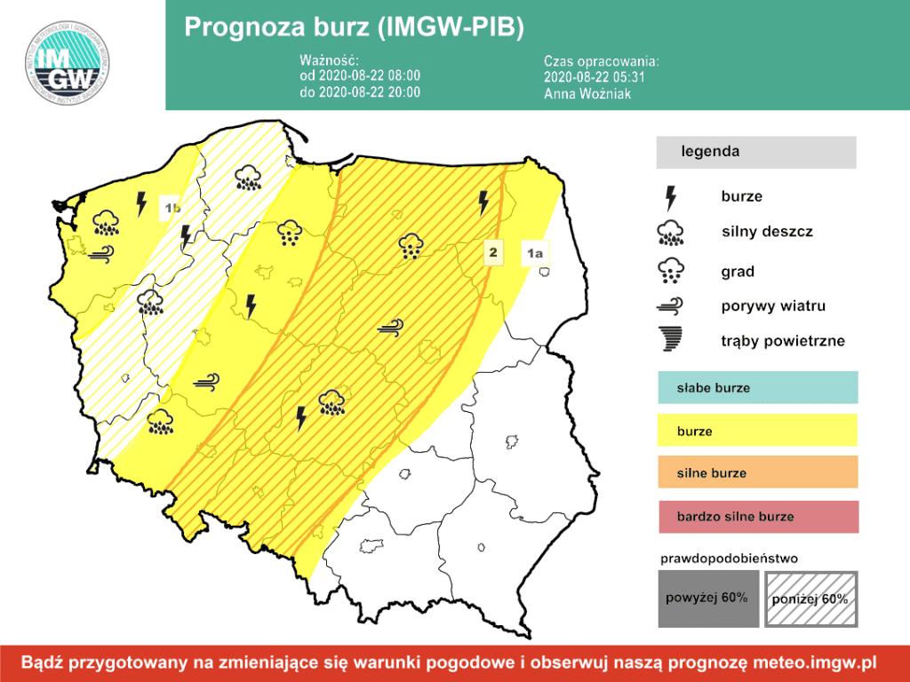 burze w Polsce 22.08