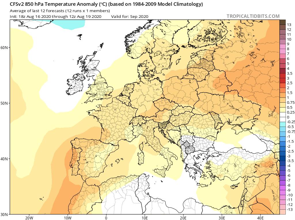 Pogoda długoterminowa na wrzesień 2020. Prognozowana anomalia temperatury na wysokości izobarycznej 850 hPa, 1500 metrów n.p.g