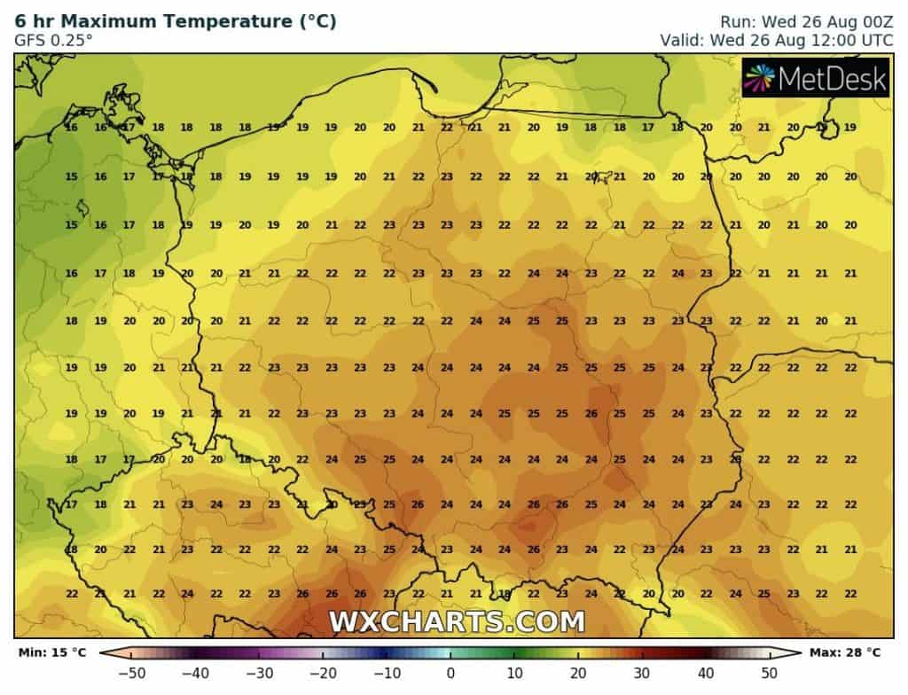 temperatury polska 26 sierpnia