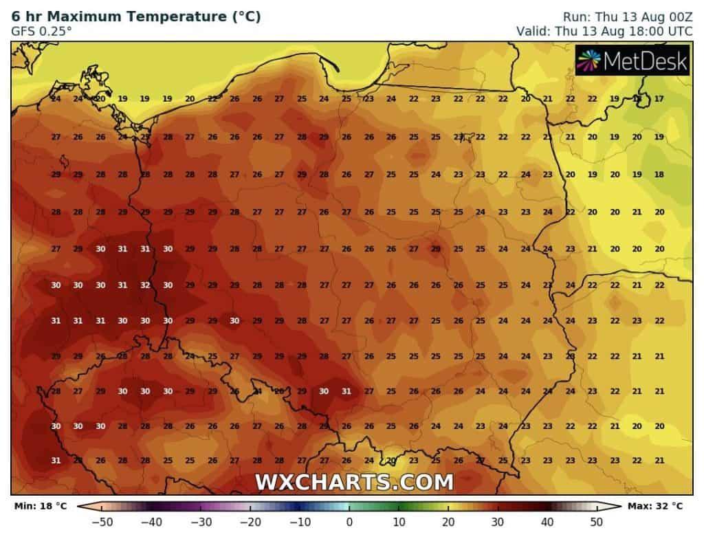 temperatury w Polsce