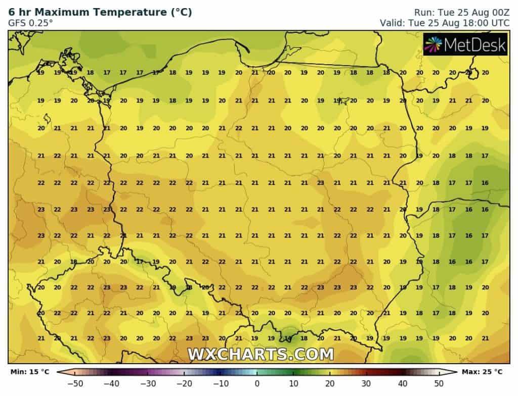 temperatury 25 sierpnia
