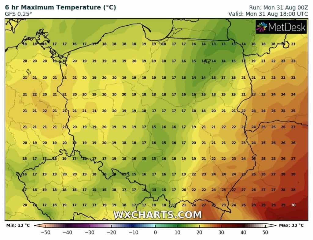 temperatury poniedziałek