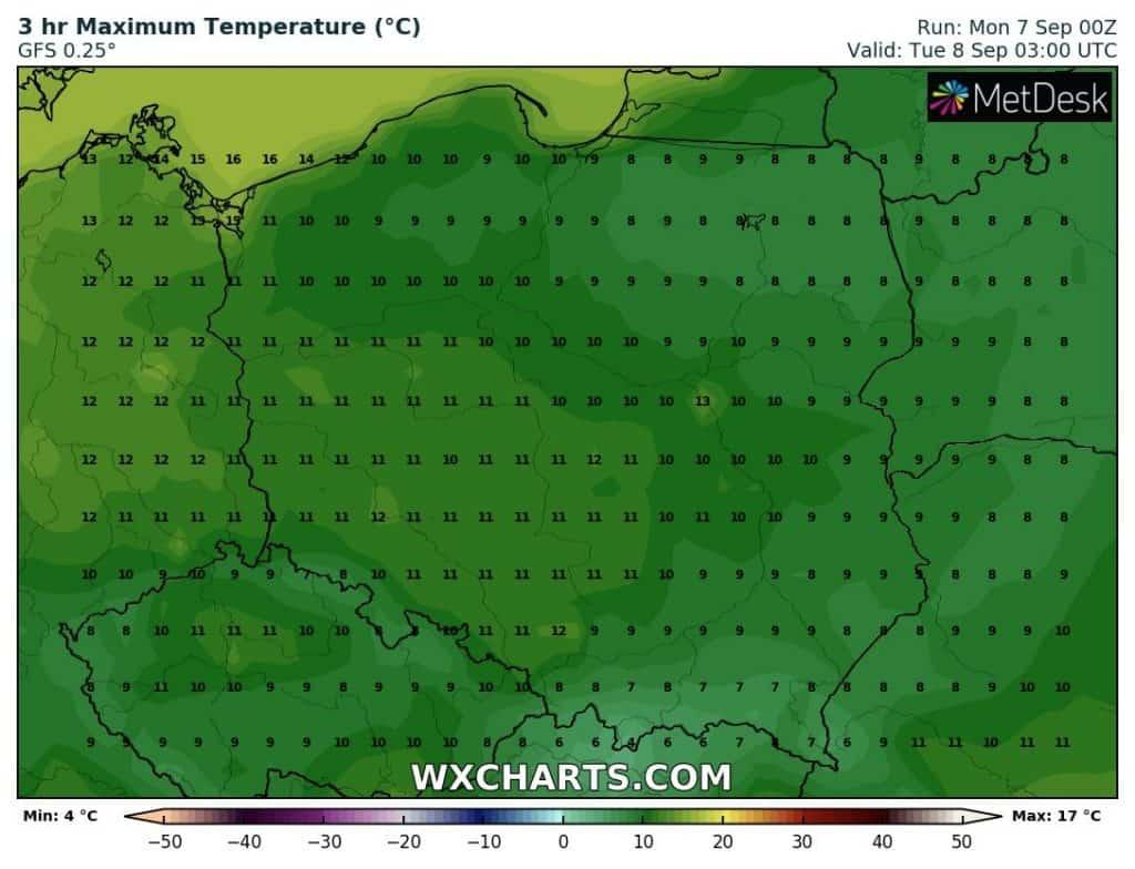 temperatury w nocy nad Polską