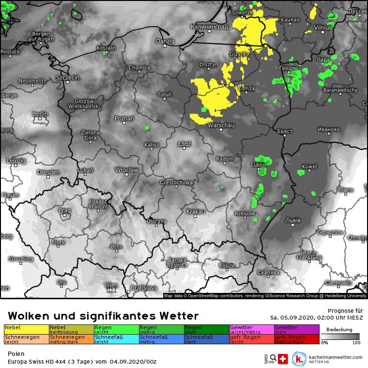 opady i mgły w Polsce w nocy