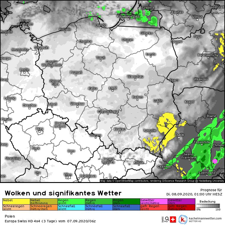 opady w nocy nad Polską
