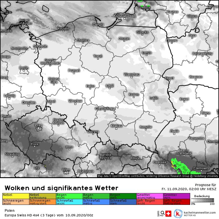 Deszcz w nocy w Polsce