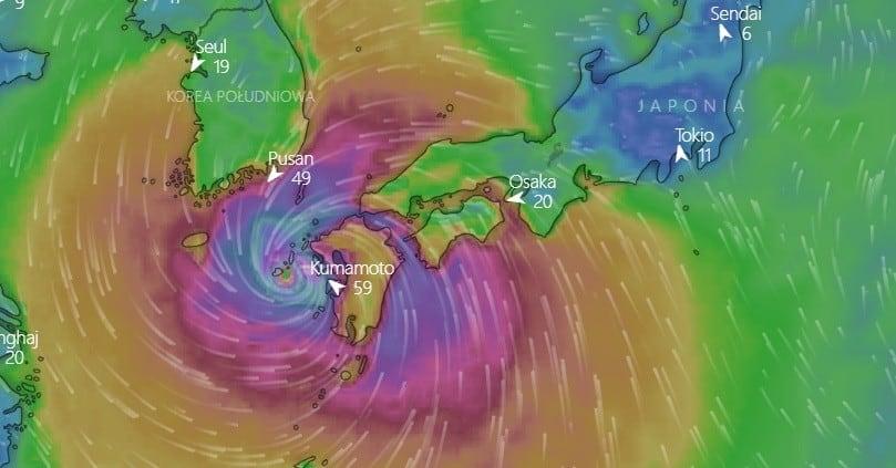 tajfun nad Japonią