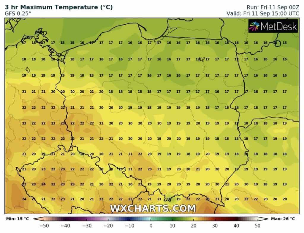 Temperatury w piątek