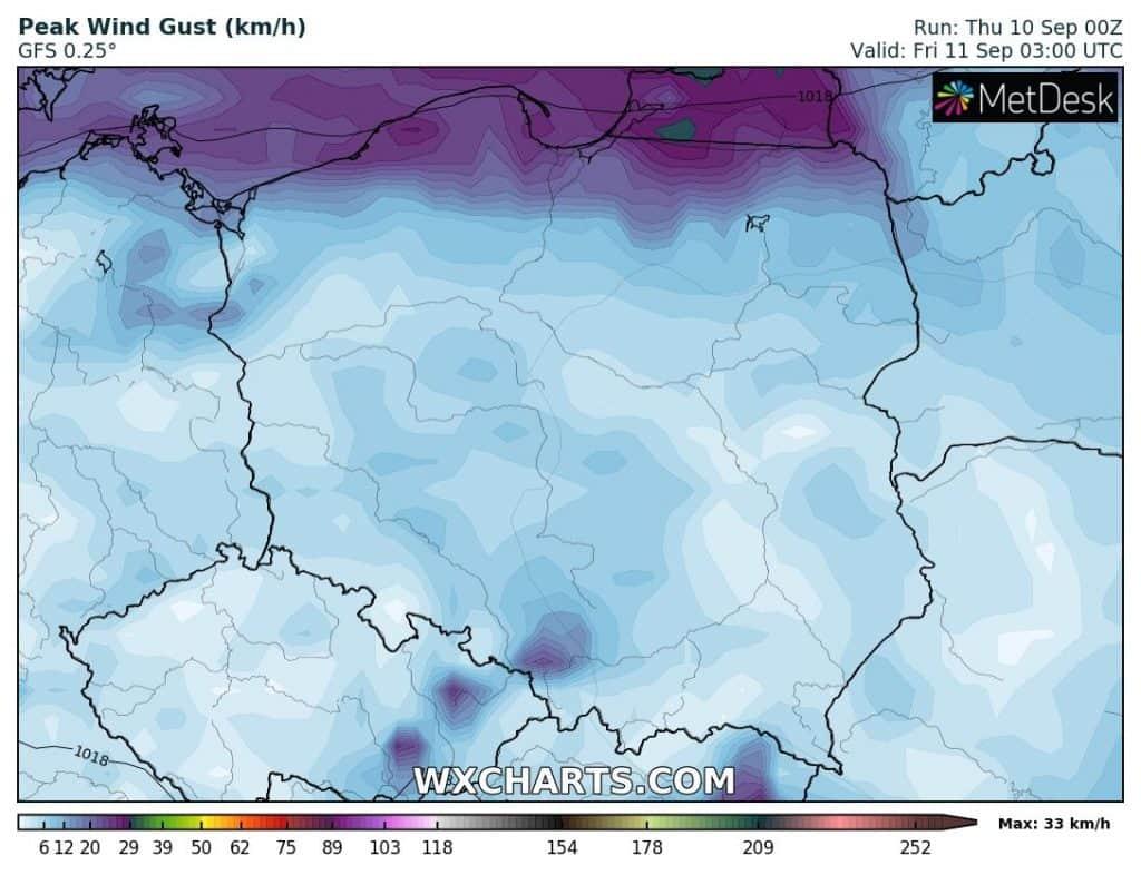 Wiatr w nocy nad Polską
