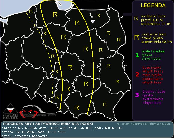 Burze nad Polską, 4 października 2020. Prognoza burz
