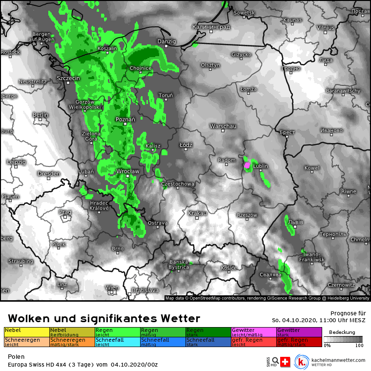 Deszcz w Polsce przed południem