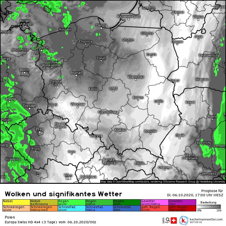 Deszcz w Polsce we wtorek