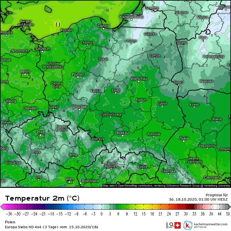 Przymrozki nad Polską