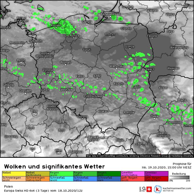 Deszcz w Polsce w ponieziałek