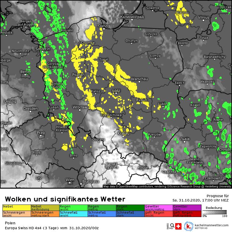 Opady i mgły nad Polską