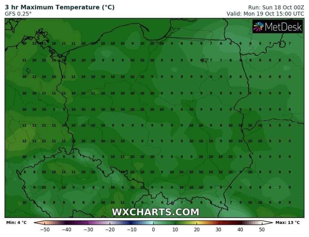 Temperatura w Polsce poniedziałek