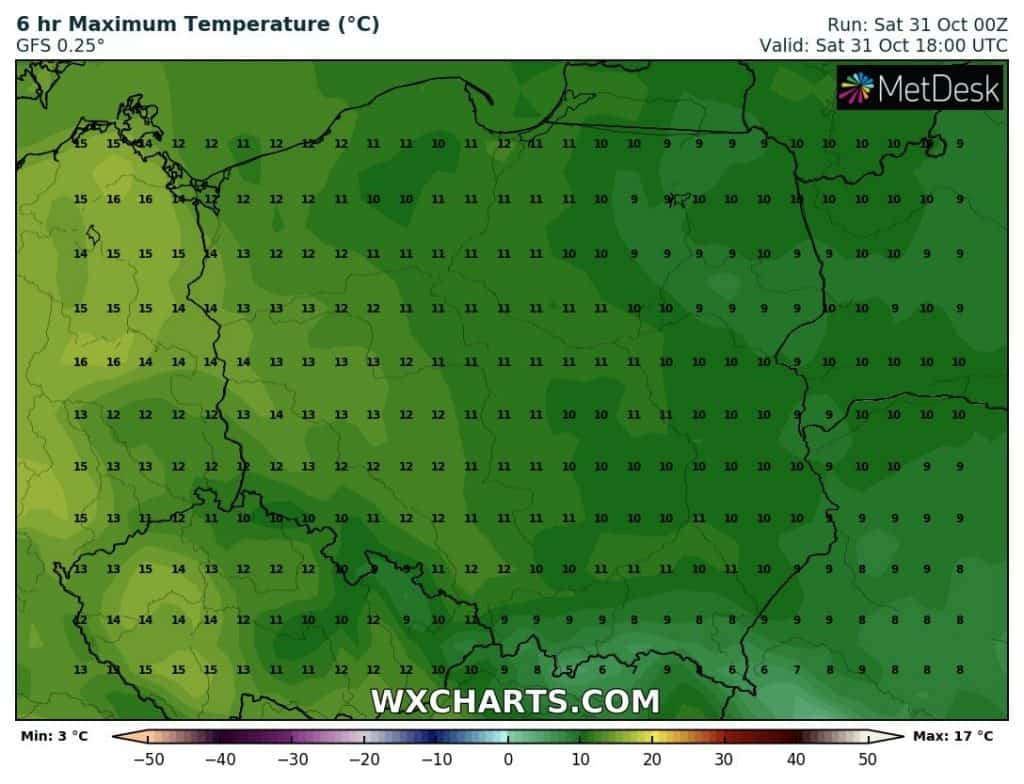 Temperatura w sobotę