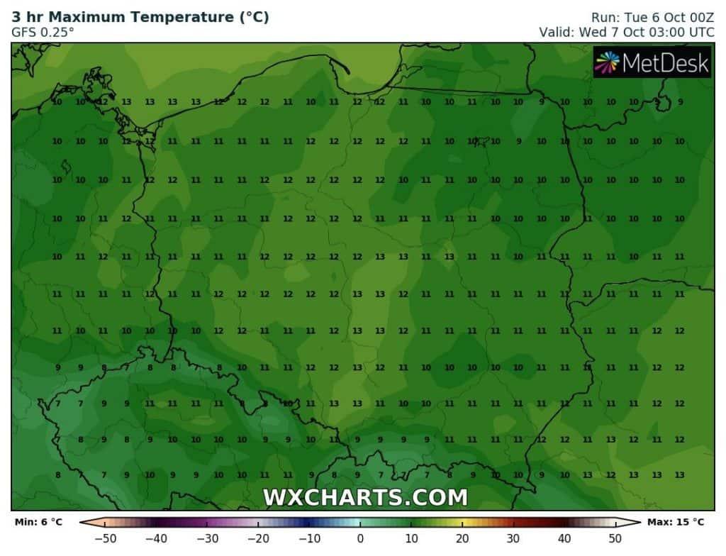 Temperatury w nocy w Polsce