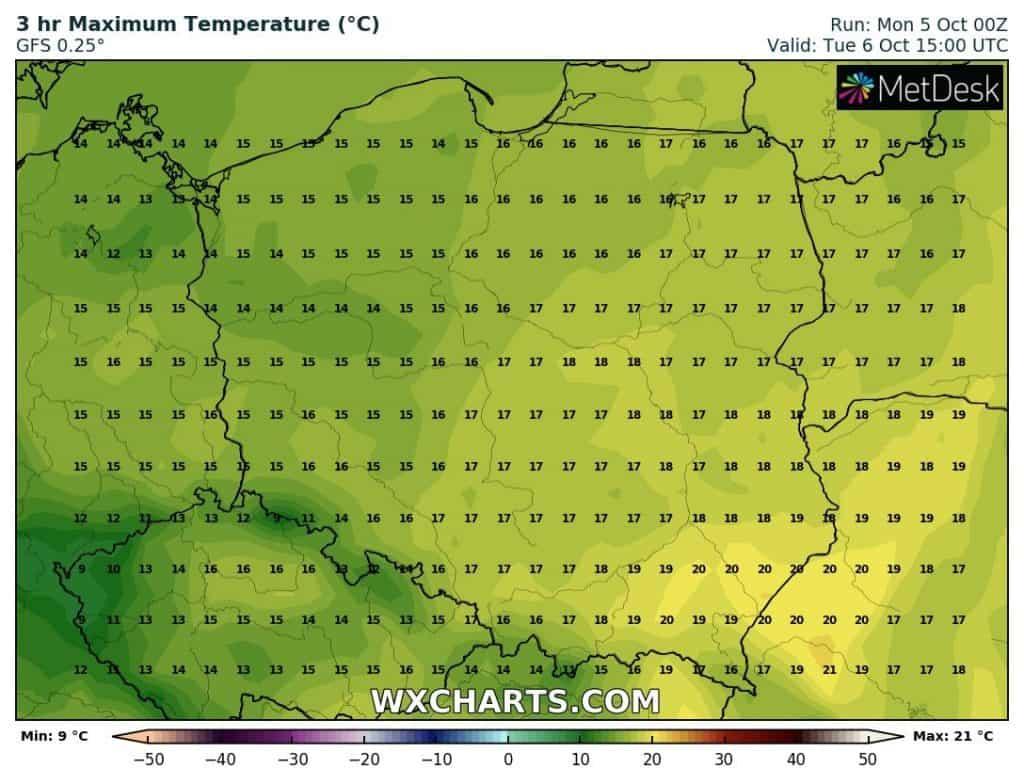 Temperatury w Polsce wtorek