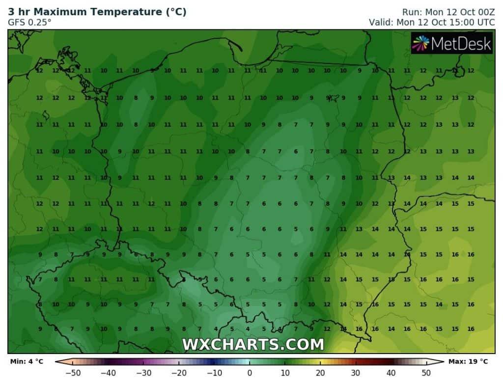 Temperatura w Polsce w poniedziałek 12.10