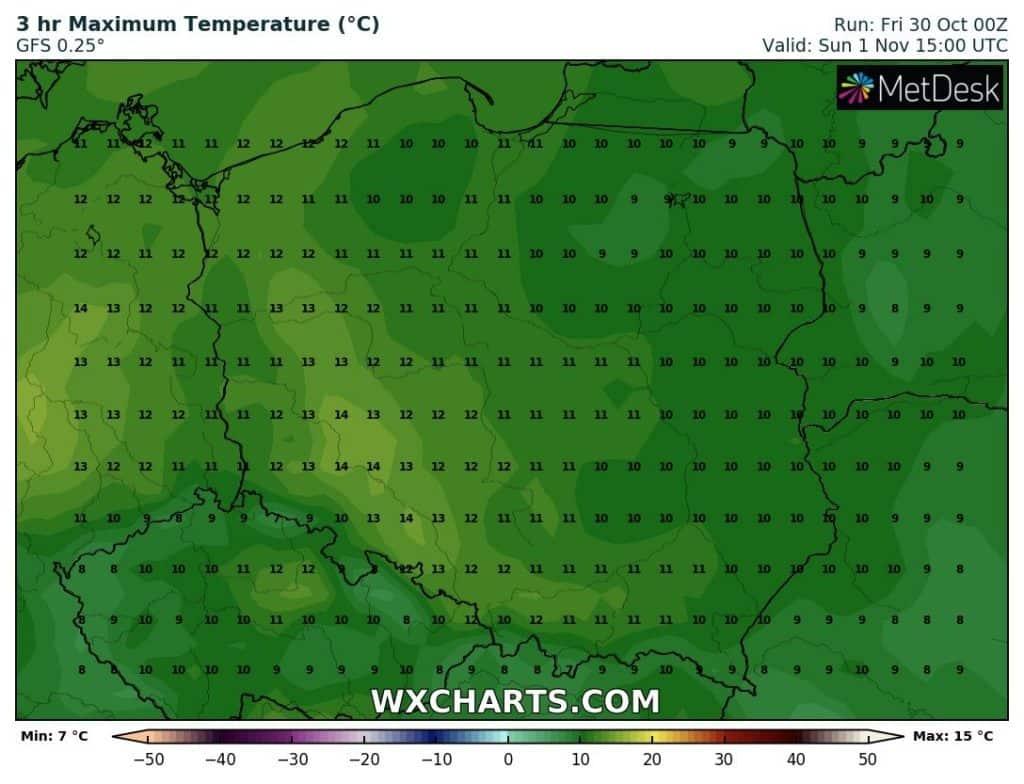 Temperatura na Wszystkich Świętych