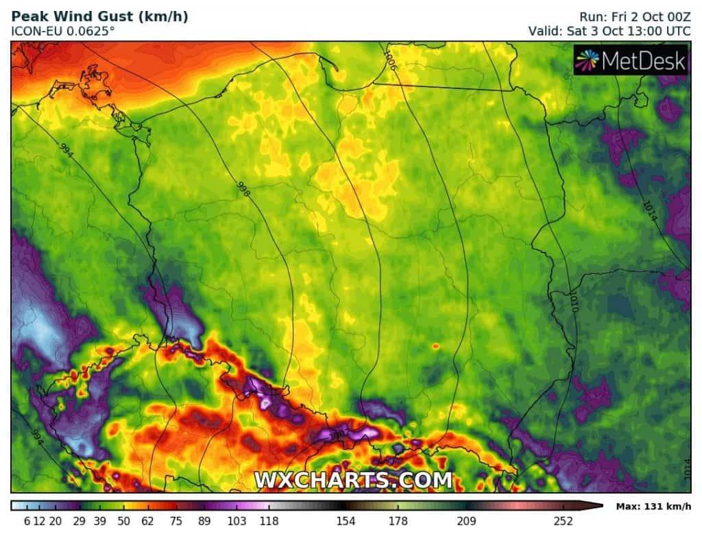 Wiatr w Polsce sobota