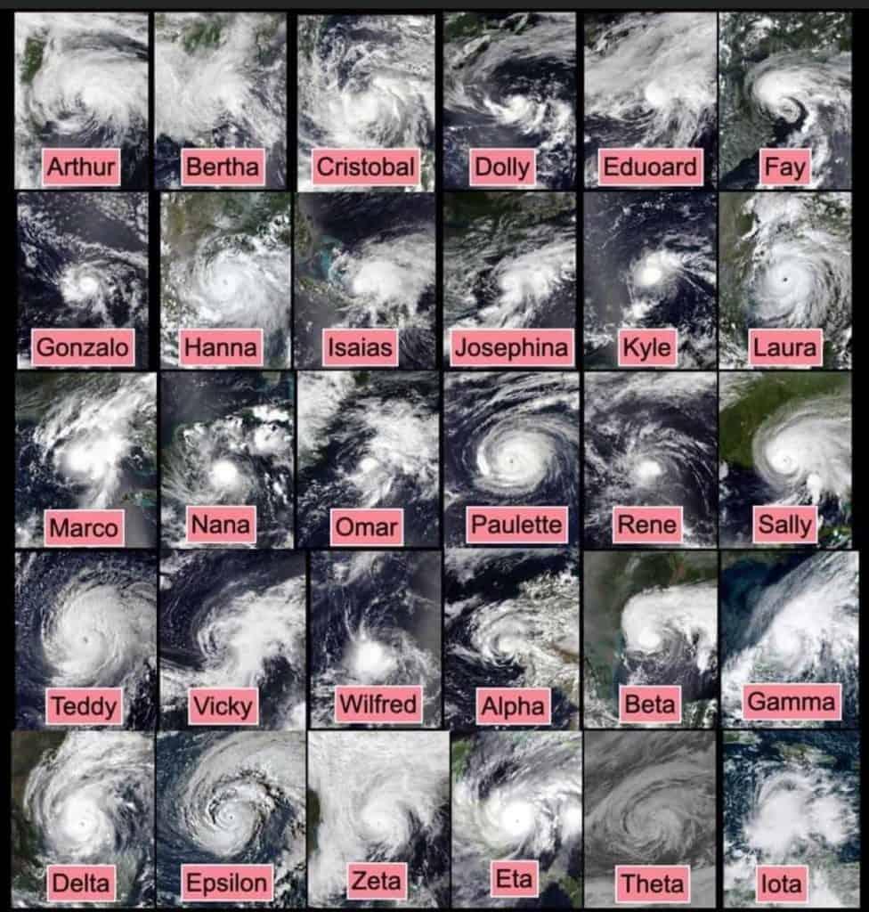 30 huraganów w 2020 roku