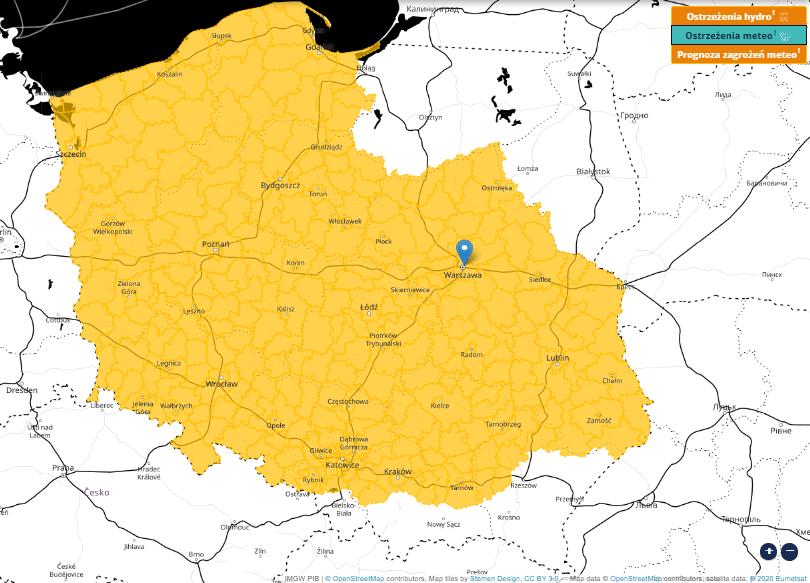 Ostrzeżenia IMGW-PIB na noc przed mgłami dla wybranych obszarów Polski.