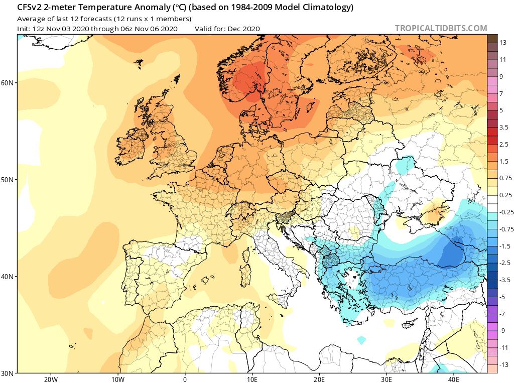 Prognoza anomalii temperatury na grudzień 2020 dla Polski według CFS.