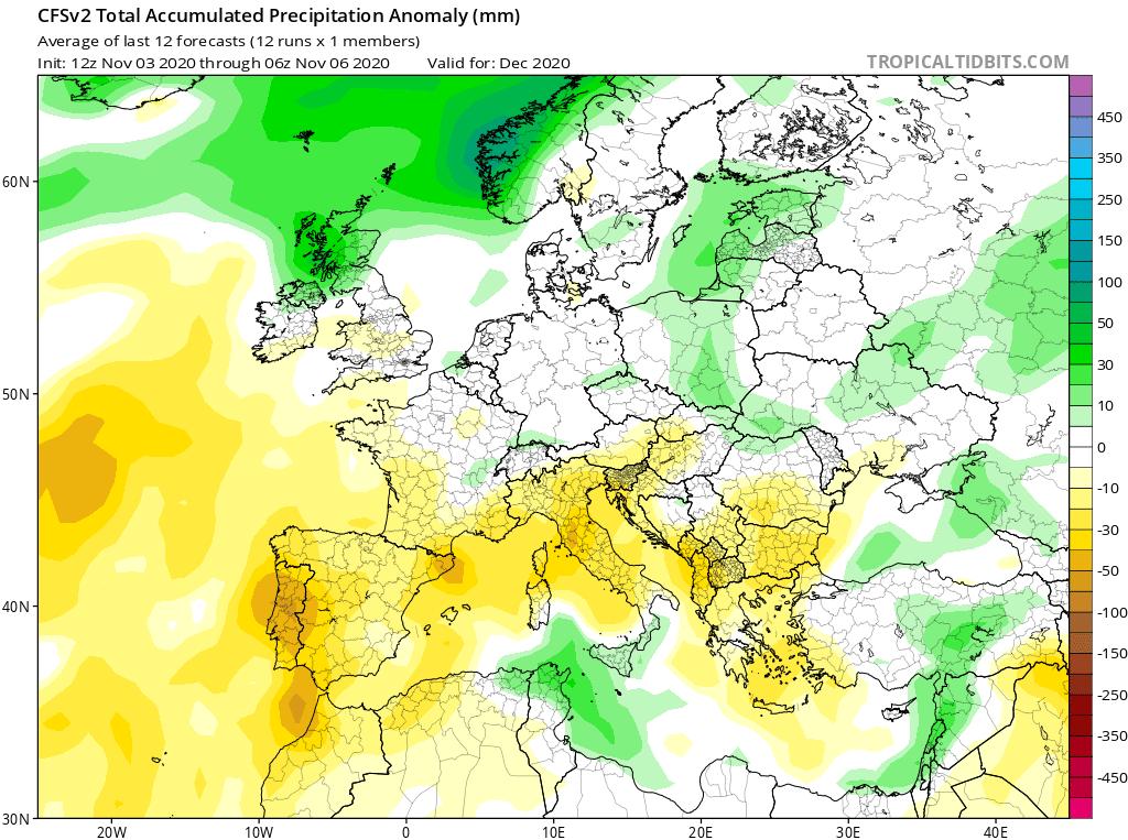 Prognoza anomalii opadów na grudzień 2020 dla Polski według CFS.