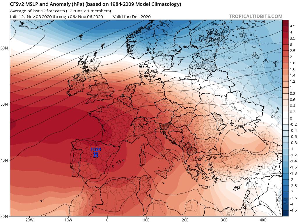 Prognoza anomalii ciśnienia na grudzień 2020 dla Polski według CFS.