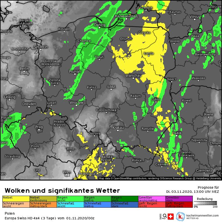 Mgła i deszcz w Polsce