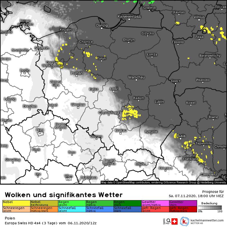 Opady w sobotę nad Polską