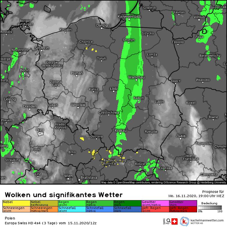 Deszcz w Polsce poniedziałek 16 listopada