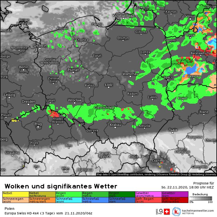 Deszcz po południu nad Polską