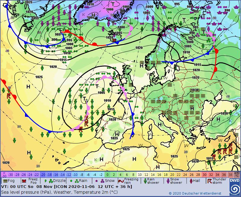 Sytuacja synoptyczna na dzień 8.11.2020, 00 UTC