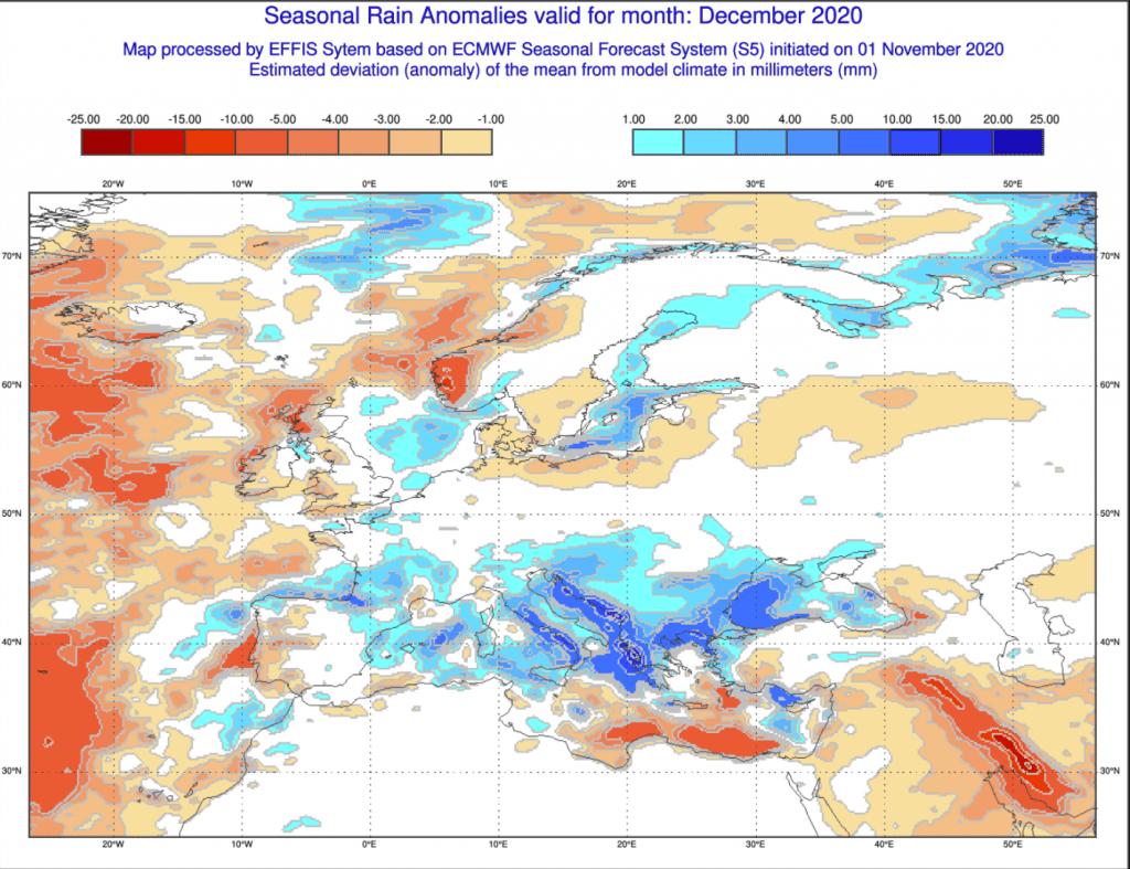 Prognoza anomalii opadów na grudzień 2020 dla Polski.