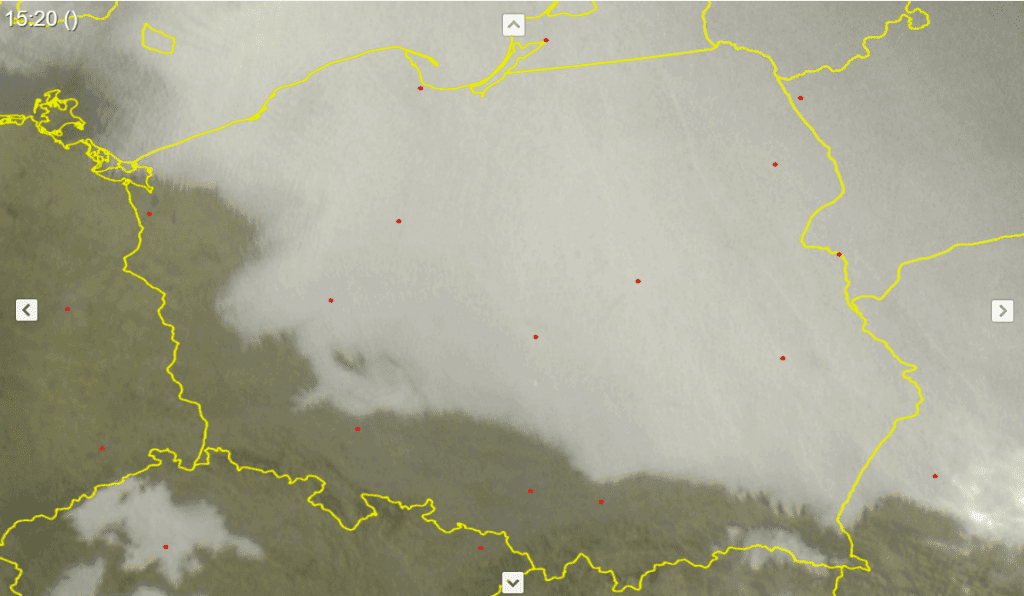 Zdjęcie satelitarne w spektrum widzialnym z dnia 7.11.2020. Widoczny obszar zalegania chmur warstwowych Stratus