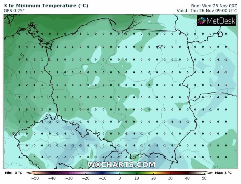 Temperatura rano czwartek