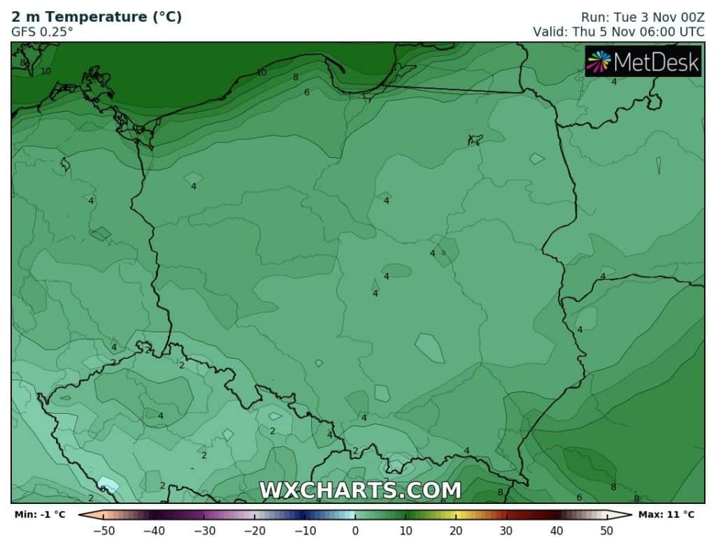 Temperatury czwartek