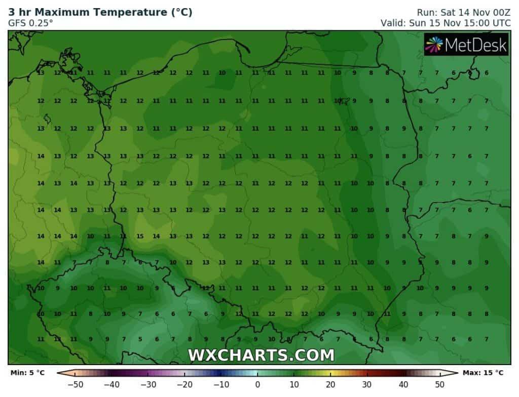 Temperatura w niedzielę w Polsce