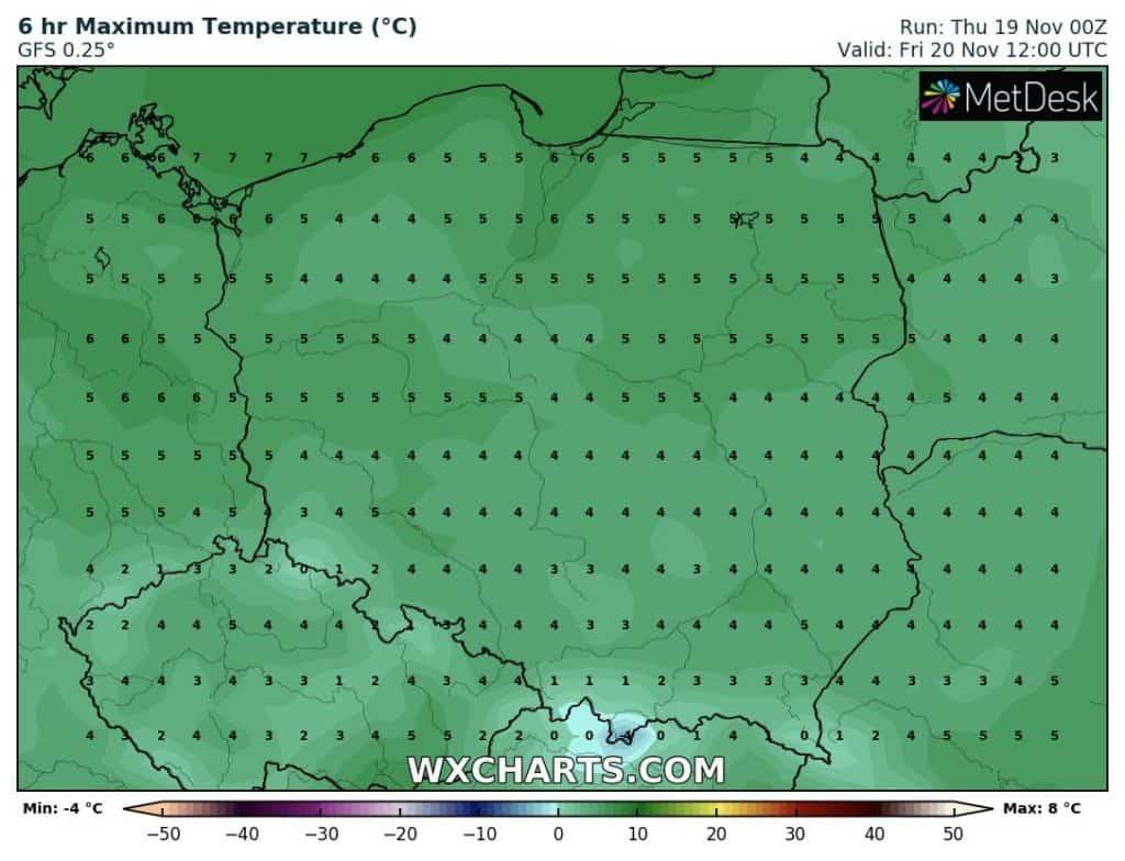 Temperatury w Polsce w piątek