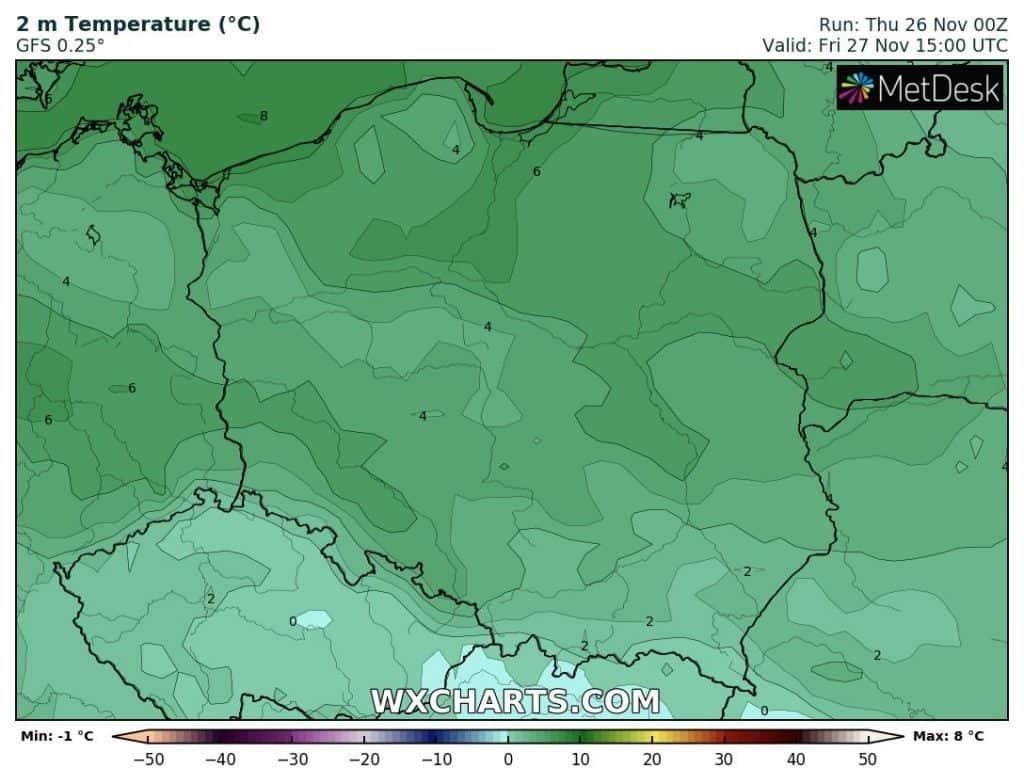 Temperatury w piatek