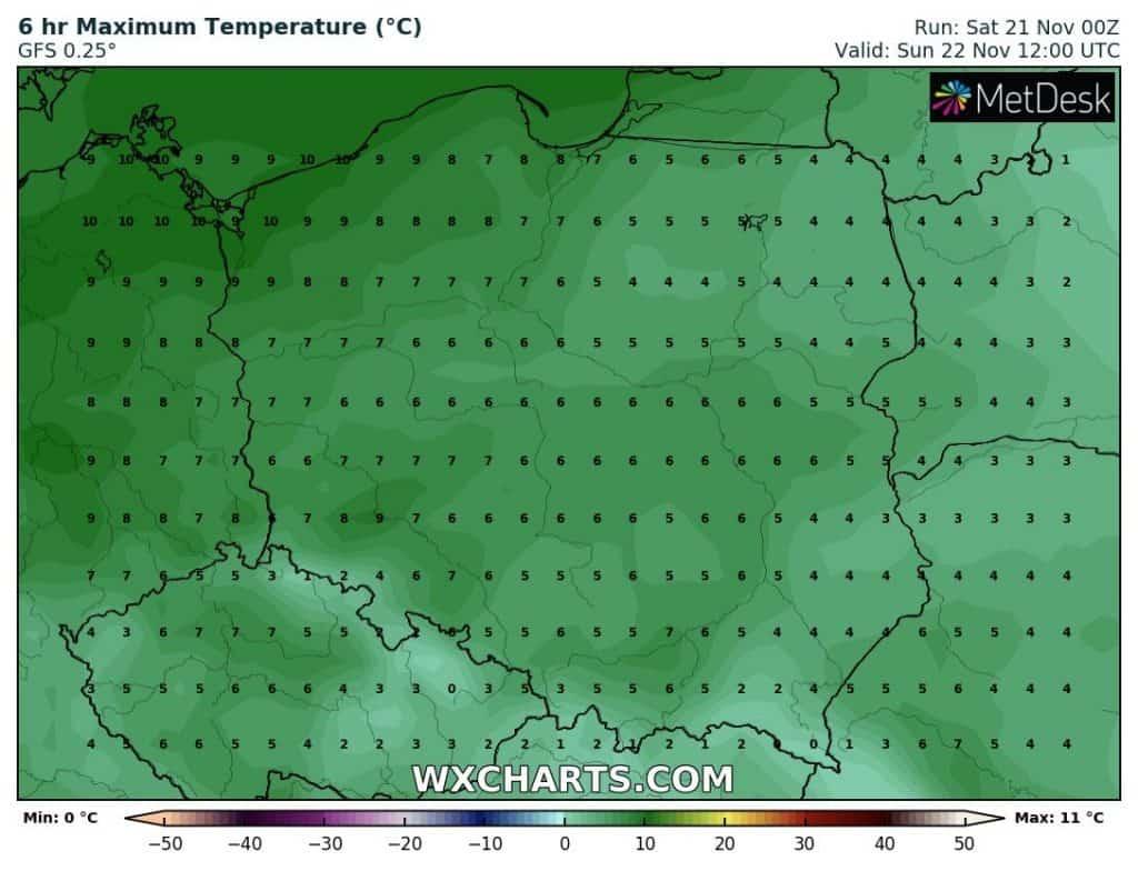 Temperatury w Polsce w niedzielę