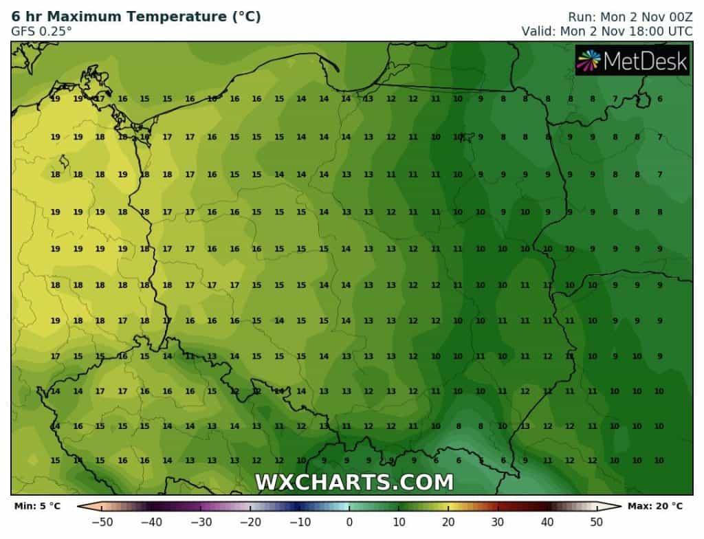 Temperatura poniedziałek 2 listopada