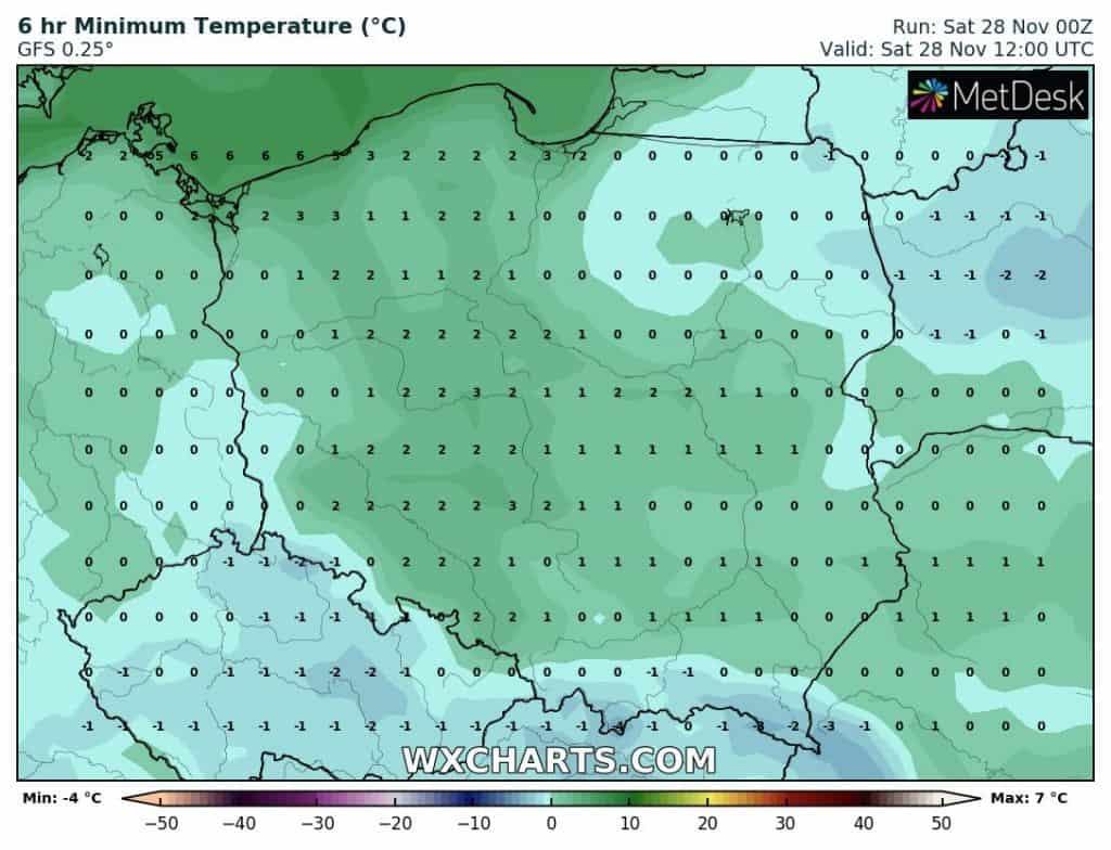 Temperatury w Polsce w sobotę
