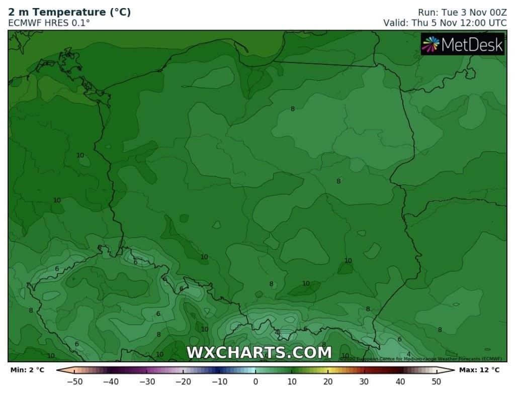 Temperatury w Polsce w środę