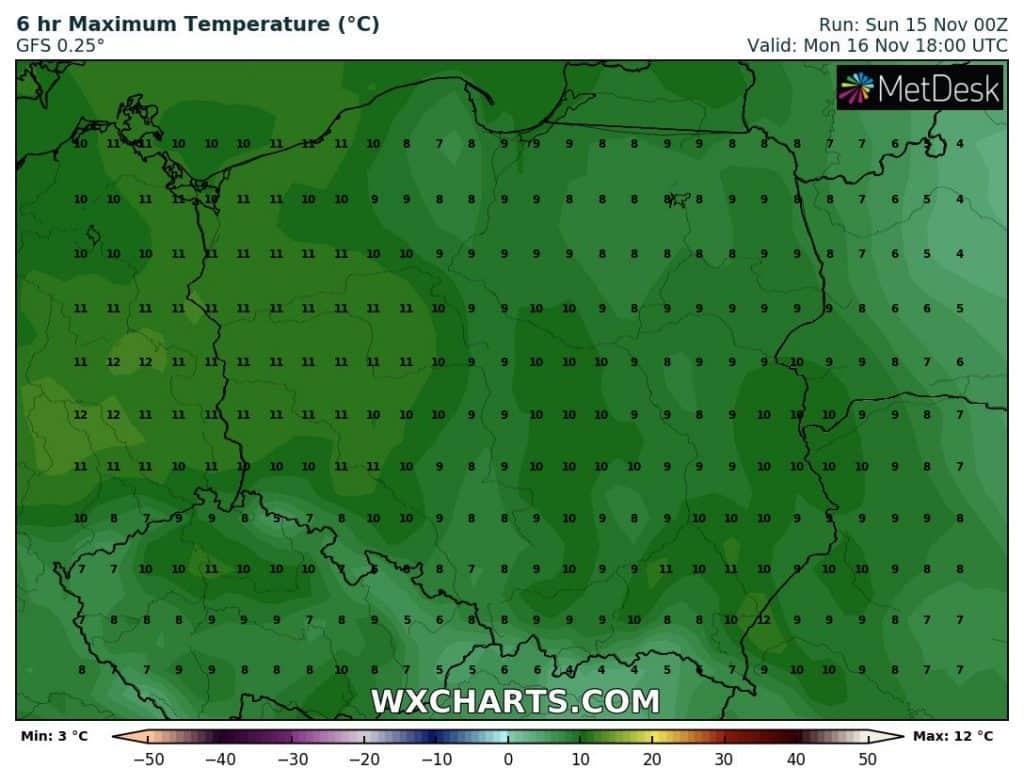 Temperatury w poniedziałek