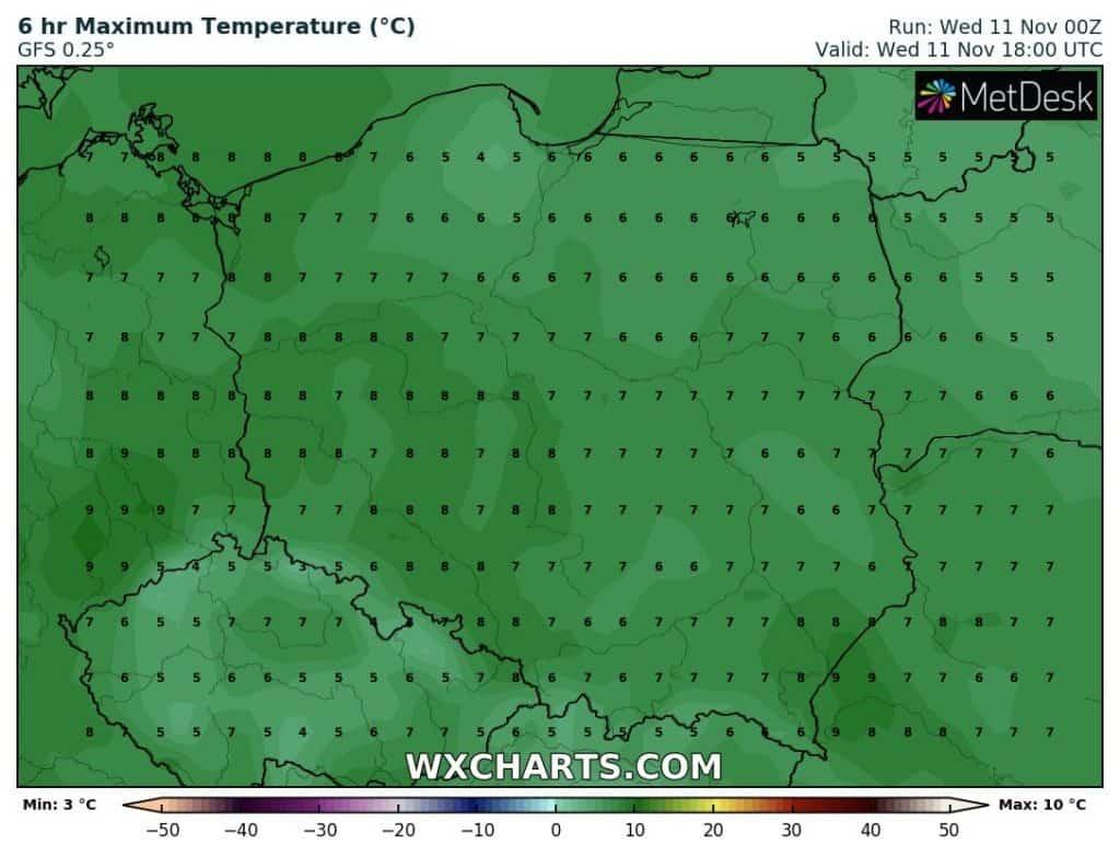 Temperatura 11 listopada w Polsce